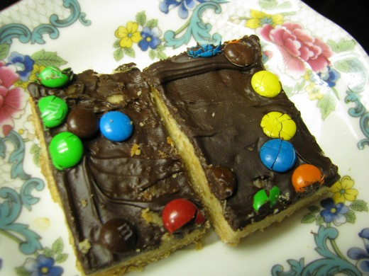 Cake Mix Cookie Bars with M & Ms
