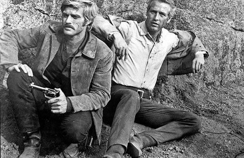 "Redford and Newman run from the law in ""Butch Cassidy and the Sundance Kid."""
