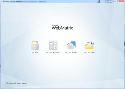 WebMatrix Quick Start Page