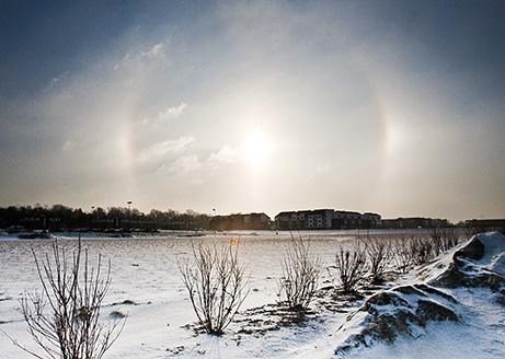 Sun Dogs, Halo, and Diamond Dust around the Sun