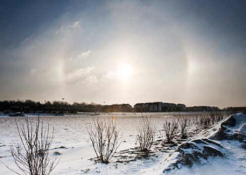 Sun Dogs, Halo, and Diamond Dust around the Sun