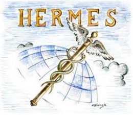 Hermes is symbolized by the caduceus, a staff encircled by two snakes