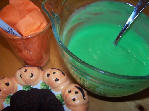 Add additional green food coloring if desired stir well and set aside.