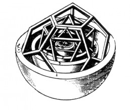 "Kepler's ""mysterium cosmographicum"" containing  nested platonic solids. Each layer can be imagined as a logosphere."