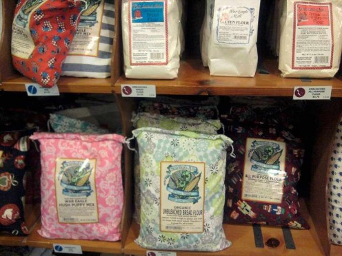Flour bedecked in floral flour sacks as in days gone by....big enough for dish towels and colorful enough for quilts!
