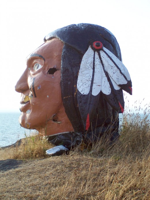 The eyes of this oversized head watch over the St. Lawrence at Riviere du Loup