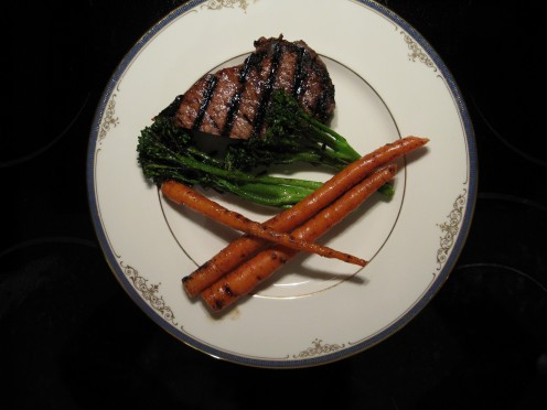 Grilled New York Striploin, Organic Carrots and Chinese Brocollini