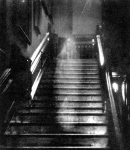 """""""The Brown Lady"""", an alleged photograph of a ghost."""