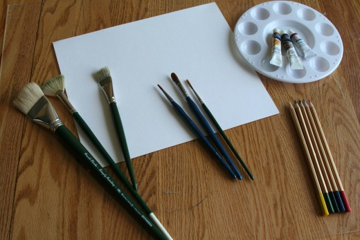 The basic tools to get started: Brushes of varying texture and size, watercolor paper, pallete, and paints.  And don't forget the water.