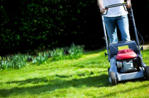 Mowing grass kicks up grass seed, a common seasonal allergy