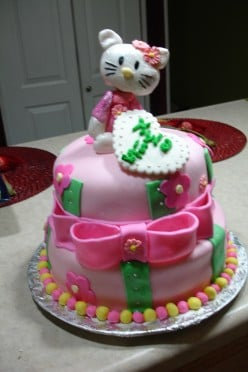 How to make a Two Tier Hello Kitty Fondant Cake.
