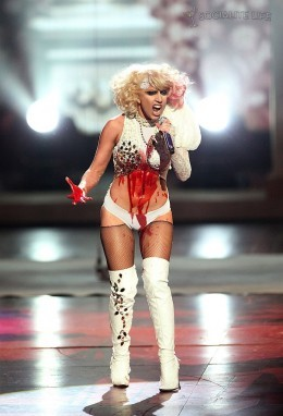 Lady Gaga has been compared to Madonna and Cristina Aguilera with her voice and her appearance.