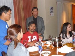 Photo starting from Left, Dyan Castillejos, ABS-CBN Sports reporter, Pacquiao's Personal Cook, Boxing Icon, Congressman Manny Pacquiao, Renato A. Avenido, Founding/Chairman U.S. News Agency based in Las Vegas, Nevada, and his wife, Jinky Pacquiao