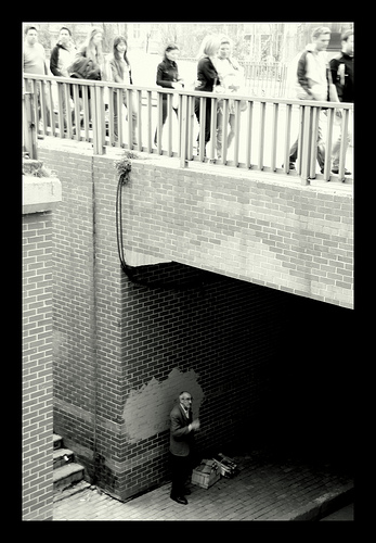 See the lonely man under the bridge. This is where lonely people go when they are stood-up.