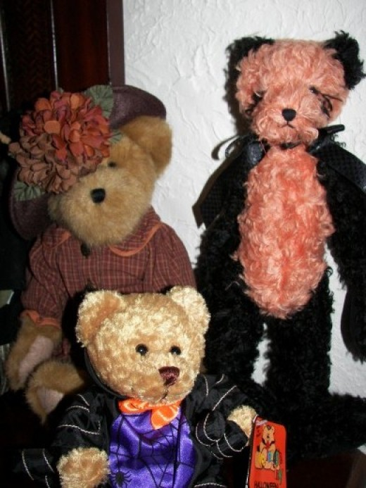 Trio of Halloween Bears in the Author's Home