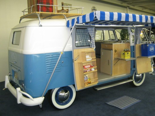 """A VW """"camper"""" van, even had a table to sit at on the inside of it"""