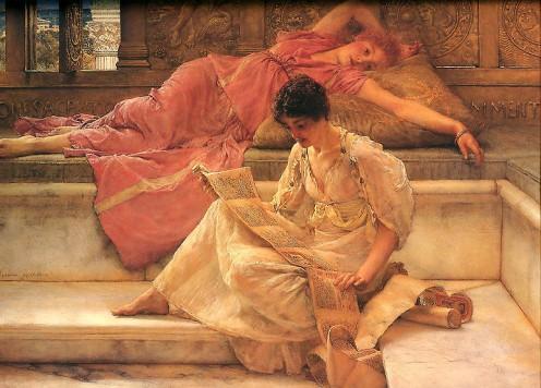 Favorite Poete - Artist: Lawrence Alma-Tadema (1836-1912) Public Domain via Wikimedia Commons
