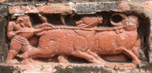 Exquisite terracotta work in Damodar temple 2