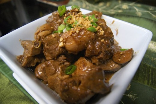 My own version of Adobo: Recipe from my dear Filipina friend however I added some peanut butter for an interesting twist.