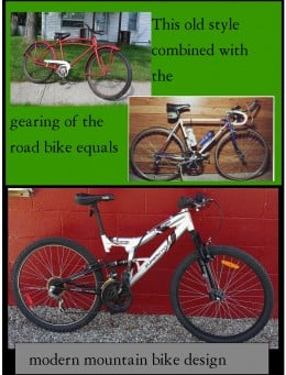 The evolotion of the mountain bike. The bikes are ones I own. The mountain bike pictured is the I repaired and is talked about in this article.
