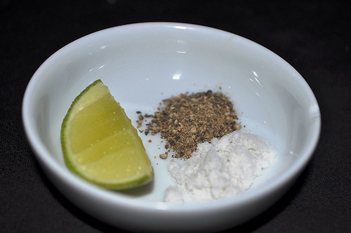 Lime, Salt and Pepper (After rubbing the grilled corn with butter, flavor with lime, salt and pepper.