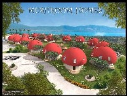 Mushroomhomes Holiday Village: This dreamland holiday village will be situated on gentle slopes overlooking the picturesque bay of Akbuk on the beautiful Aegean coast. These fantasy homes are specially designed for families with children and for thos