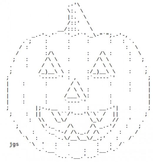 Jack o lanterns in ascii text art for Ascii decoration