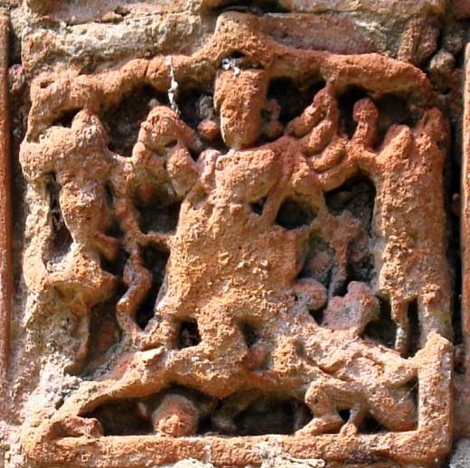 Terracotta of Raj Rajeswari temple : Singabahini Durga
