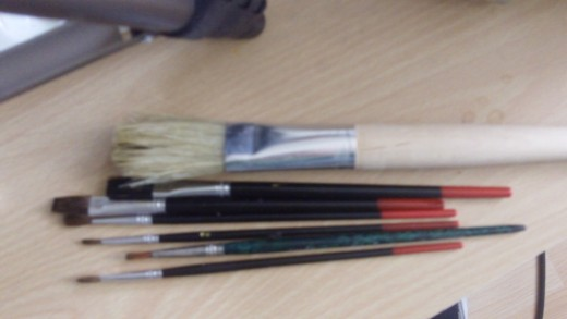 My acrylic paint brushes are a mixture of soft and stuff bristle brushes, my preference, yours may differ.