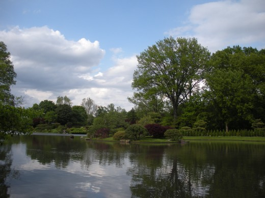 Clouds, trees, water, and nature in general, make for a peaceful garden scene.  This view and its reflections invite peace and calm.