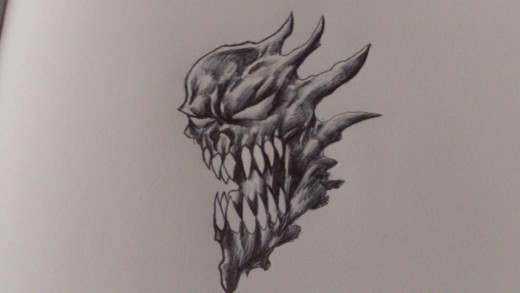 Ball point pen demon art by Wayne Tully. Copyright Wayne Tully 2011.