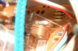 PC Board copper coil brightly lit