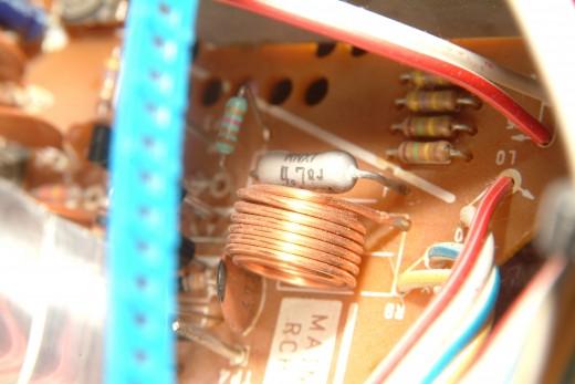 PC Board copper coil brightly lit
