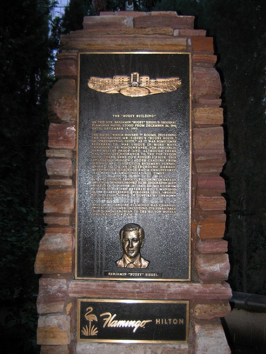 The plaque remembering Bugsy Siegel at the Flamingo Hotel.