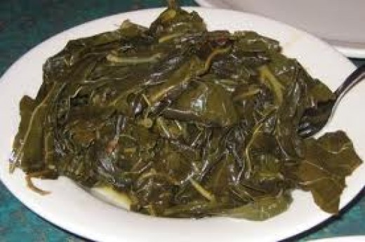 COLLARD GREENS a lovely 'dish' from the South. Always happy to see me when I am in that rural mood for some country company.