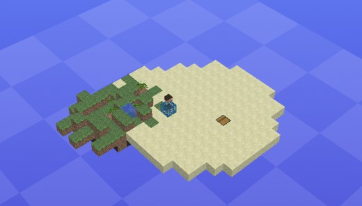 The final-ish product. A minecraft island floating in the void.