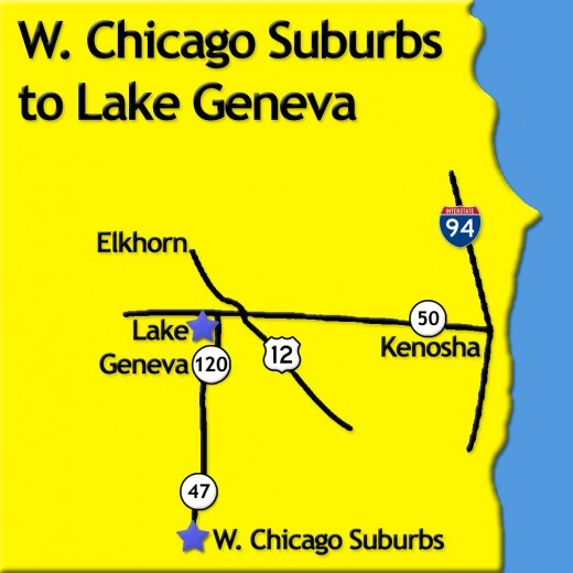 Map from Chicago and Western Suburbs to Lake Geneva, Wisconsin