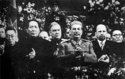 Mao at Stalin's side on a ceremony arranged for Stalin's 70th birthday in Moscow in December 1949. To the right of Stalin is Walter Ulbricht of East Germany