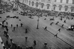 Petrograd, July 4, 1917. Street demonstration on Nevsky Prospekt just after troops of the Provisional Government have opened fire with machine guns.