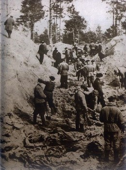 Photo from 1943 exhumation of mass grave of polish officers killed by NKVD in Katyń Forest in 1940.