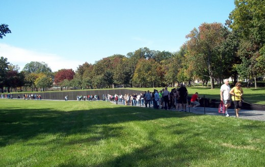 The impressive Vietnam Wall was even crowded early Sunday.