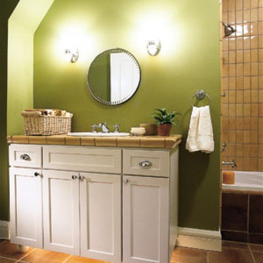 The wall-hung mirror can be raised up as the kids grow.
