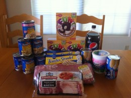 These groceries which includes a 32 oz. container of Yoplait, 8 cans of Progresso Soup, a pound of bacon and over 5 pounds of pork loin, were purchased for just under $24.