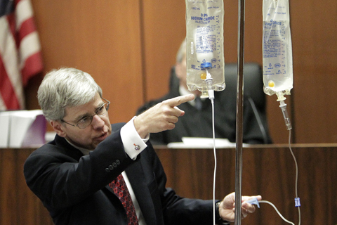 Note the Propofol bottle in empty saline bag.  This is how it was set up in the home of Michael Jackson.