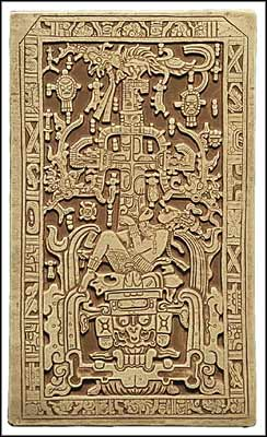 The sarcophagus lid of Pacal Votan, King of Palenque, the piece of artwork responsible for the 2012 end of the world / new beginning prediction.