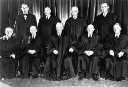 The United States Supreme Court in 1953. Bottom from left: Felix Frankfurter; Hugo Black; Earl Warren (Chief Justice); Stanley Reed; WIlliam O. Douglas. Back from left: Tom Clark; Robert H. Jackson; Harold Burton; Sherman Minton