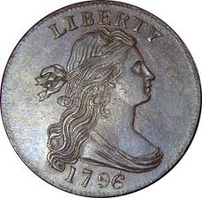 This is the 1796 large cent. The design is the Liberty Cap.