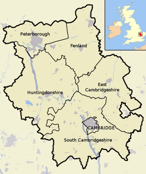 Map location of Cambridgeshire districts