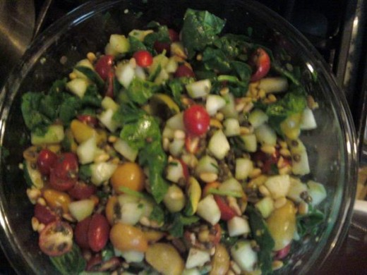Lentil Salad With Cucumbers, Tomatoes and Baby Spinach