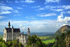Neuschwanstein Castle in Schwangau, Germany which inspired the design of Sleeping Beauty's castle in Disneyland.
